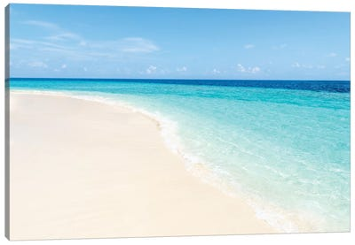 Turquoise Water And White Sand On The Maldives Canvas Art Print