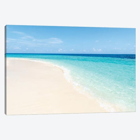 Turquoise Water And White Sand On The Maldives Canvas Print #JNB131} by Jan Becke Art Print