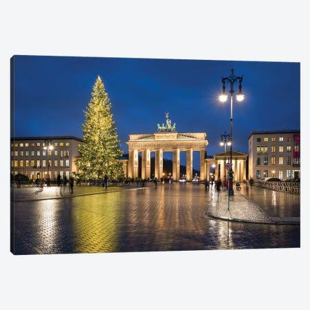 Brandenburg Gate (Brandenburger Tor) With Christmas Tree At Night, Pariser Platz, Berlin Canvas Print #JNB1332} by Jan Becke Canvas Wall Art
