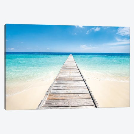Jetty On A Beautiful Island In The Maldives Canvas Print #JNB133} by Jan Becke Canvas Art Print