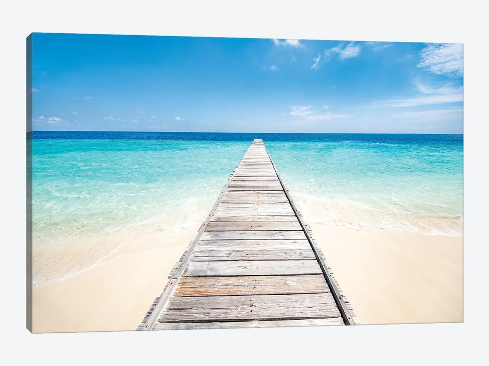 Jetty On A Beautiful Island In The Maldives by Jan Becke 1-piece Canvas Artwork