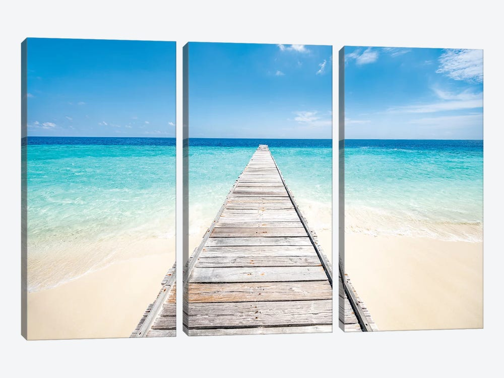 Jetty On A Beautiful Island In The Maldives by Jan Becke 3-piece Canvas Artwork