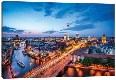 Berlin Skyline With Nikolaiviertel And Berlin Television Tower (Fernsehturm Berlin) At Night Canvas Art Print