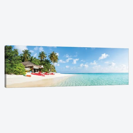 Tropical Beach Panorama On The Maldives Canvas Print #JNB134} by Jan Becke Canvas Wall Art