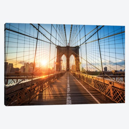 Brooklyn Bridge In New York City Canvas Print #JNB13} by Jan Becke Canvas Wall Art