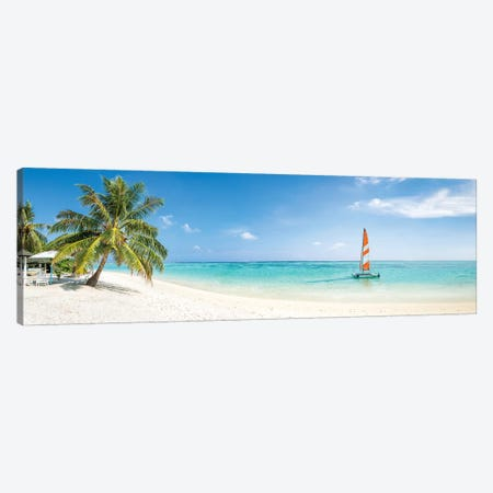 Beach Panorama On The Maldives Canvas Print #JNB140} by Jan Becke Canvas Wall Art
