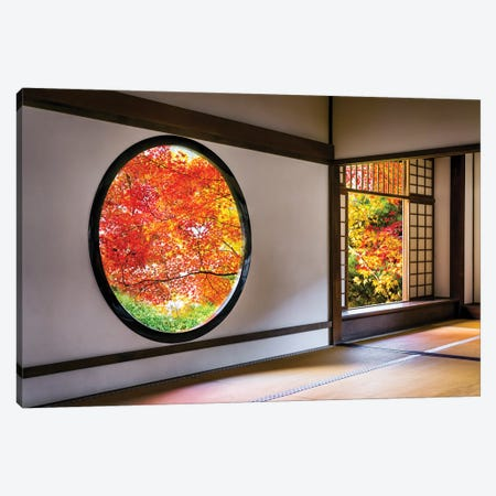 Round Window At The Genko-An Temple In Kyoto, Japan Canvas Print #JNB1413} by Jan Becke Art Print