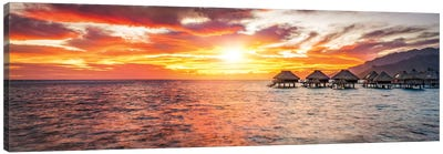 Overwater Bungalows At Sunset, Bora Bora Atoll Canvas Art Print