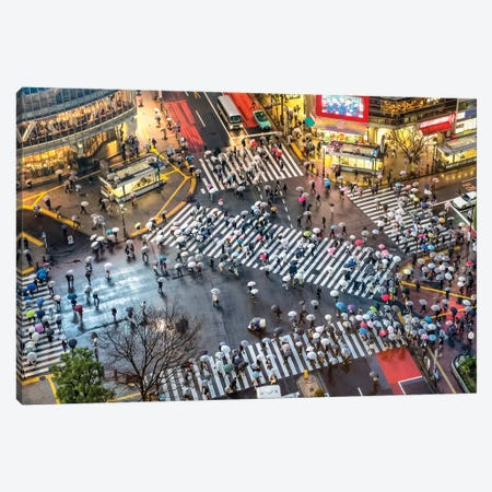 Aerial View Of Shibuya Crossing On A Rainy Day, Tokyo Canvas Print #JNB1443} by Jan Becke Canvas Wall Art