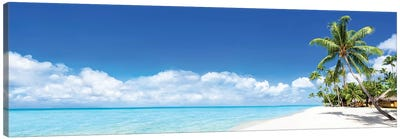 Tropical Beach Panorama On Bora Bora Canvas Art Print