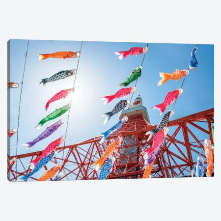 Colourful Carp Flags As Decoration During The Children's Day , Tokyo Tower, Japan Canvas Print #JNB1454} by Jan Becke Canvas Artwork