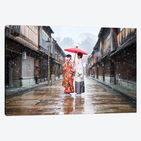 Wedding Couple At The Old Town Of Kanazawa Canvas Print #JNB1458} by Jan Becke Canvas Art Print