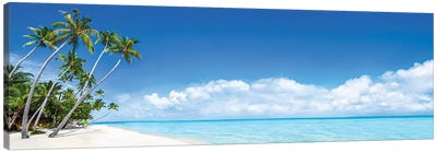 Beach Panorama On The Bora Bora Atoll Canvas Art Print