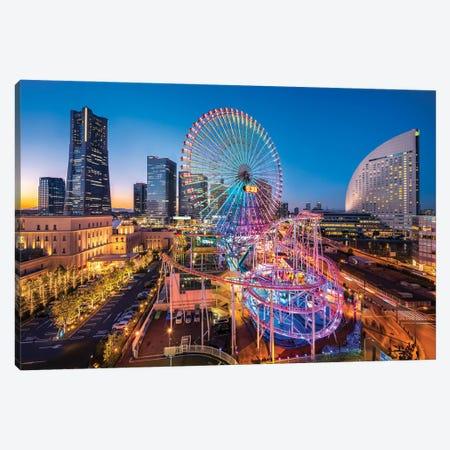 Landmark Tower And Ferris Wheel At Minato Mirai 21, Yokohama, Japan Canvas Print #JNB1464} by Jan Becke Art Print