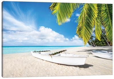 Boat At The Beach On Bora Bora Canvas Art Print