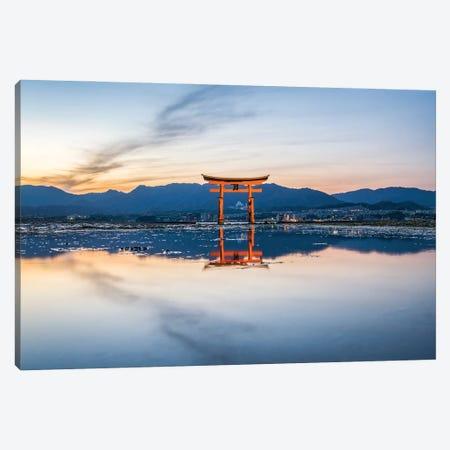 Torii Gate Of The Itsukushima Shrine At Sunset, Miyajima Island, Japan Canvas Print #JNB1475} by Jan Becke Canvas Wall Art