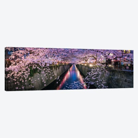 Panoramic View Of A Canal At The Nakameguro Cherry Blossom Festival In Tokyo Canvas Print #JNB1482} by Jan Becke Canvas Wall Art