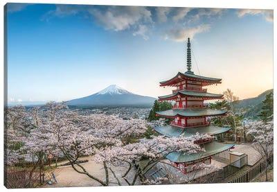 Chureito Pagoda With View Of Mount Fuji At The Arakura Sengen Shrine In Fujiyoshida Canvas Art Print