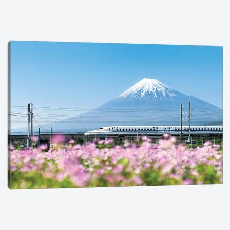 Tokaido Shinkansen Bullet Train Passing By Mount Fuji, Yoshiwara, Shizuoka Prefecture, Japan Canvas Print #JNB1494} by Jan Becke Canvas Artwork