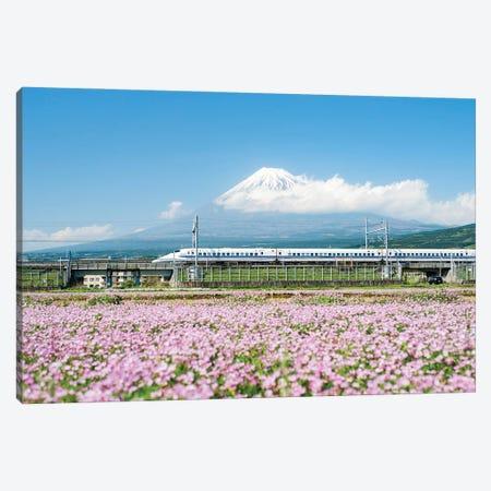 Tokaido Shinkansen Train Passing By Mount Fuji, Yoshiwara, Shizuoka Prefecture, Japan Canvas Print #JNB1495} by Jan Becke Canvas Art