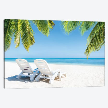 Summer Holidays At The Beach Canvas Print #JNB149} by Jan Becke Canvas Art