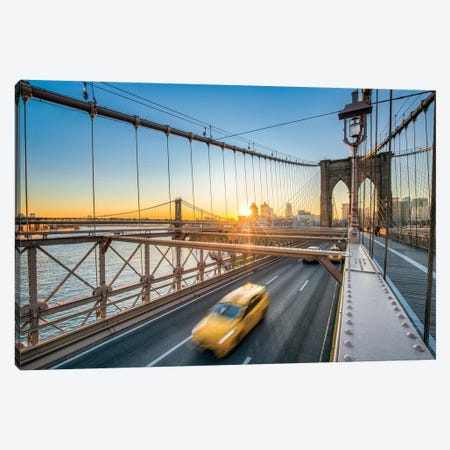 Brooklyn Bridge With Yellow Cab Canvas Print #JNB14} by Jan Becke Canvas Art Print