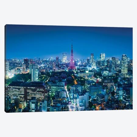 Tokyo Skyline And Tokyo Tower At Night Canvas Print #JNB1517} by Jan Becke Art Print