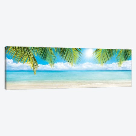 Beach Panorama With Palm Branches Canvas Print #JNB151} by Jan Becke Art Print