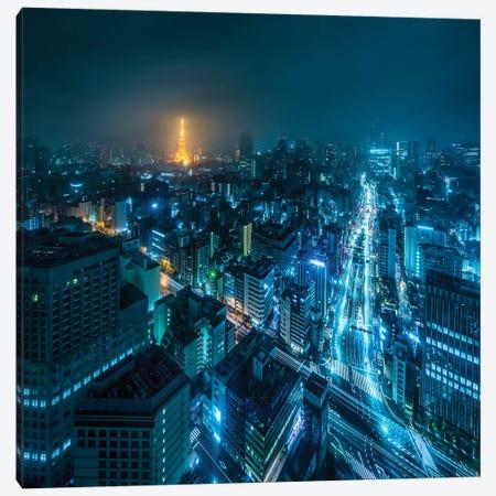 Tokyo At Night With Illuminated Tokyo Tower Canvas Print #JNB1546} by Jan Becke Canvas Wall Art