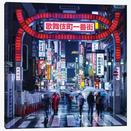 Nightlife At The Kabukicho District In Tokyo, Japan Canvas Print #JNB1547} by Jan Becke Canvas Wall Art