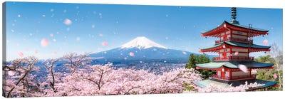 Chureito Pagoda And Mount Fuji During Cherry Blossom Season Canvas Art Print
