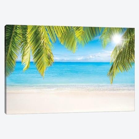 Sunny Beach With Palm Branches Canvas Print #JNB157} by Jan Becke Canvas Artwork