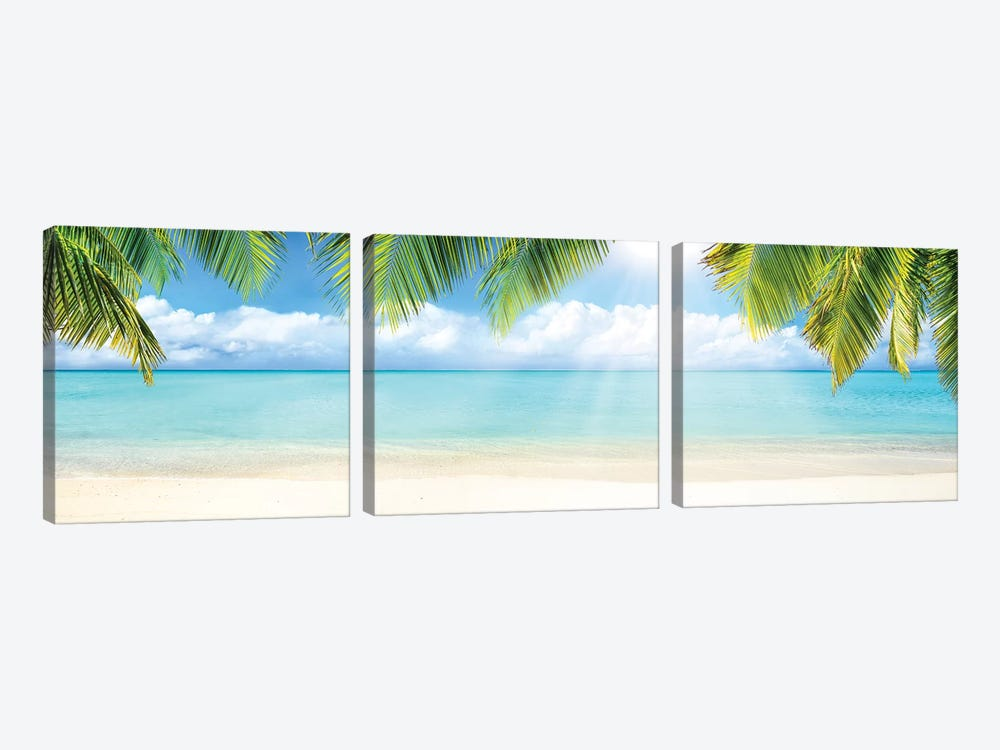 Tropical Beach With White Sand And Turquoise Sea by Jan Becke 3-piece Canvas Print