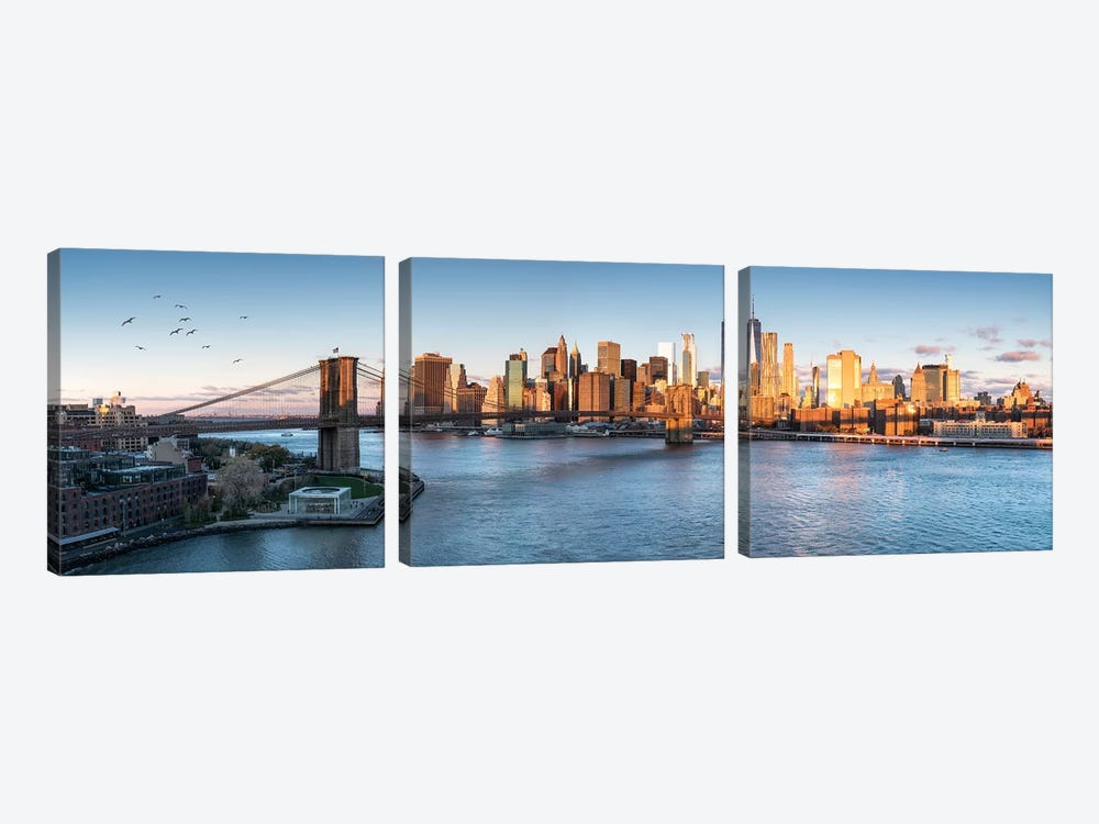 Brookyln Bridge And Manhattan Skyline by Jan Becke 3-piece Canvas Art Print