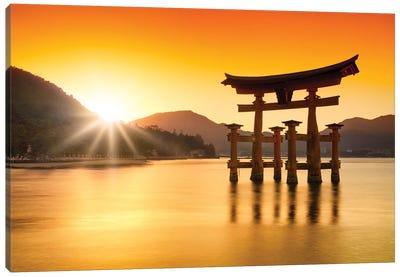 Torii Gate At Sunset, Miyajima Island, Japan Canvas Art Print
