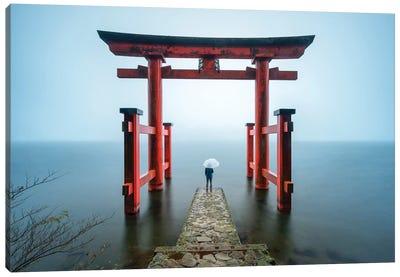 Torii Gate Of The Hakone Shrine At Lake Ashi Canvas Art Print
