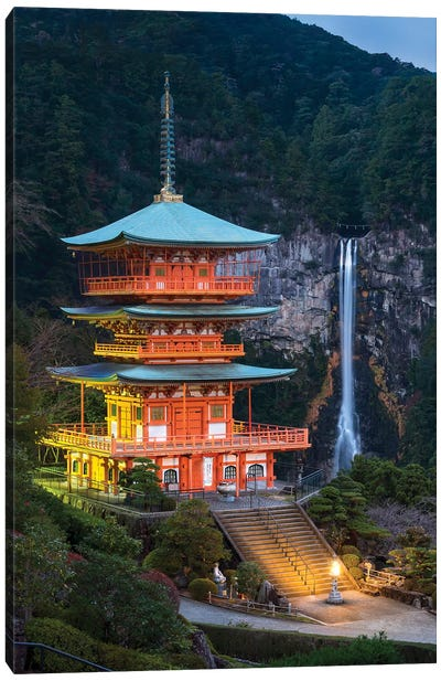 Three-Story Pagoda And Nachi Falls At Kumano Nachi-Taisha, Wakayama Prefecture, Japan Canvas Art Print