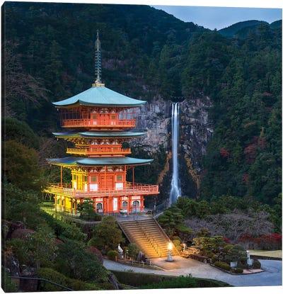 Three-Story Pagoda With Nachi Falls In The Background, Kumano Nachi-Taisha, Japan Canvas Art Print