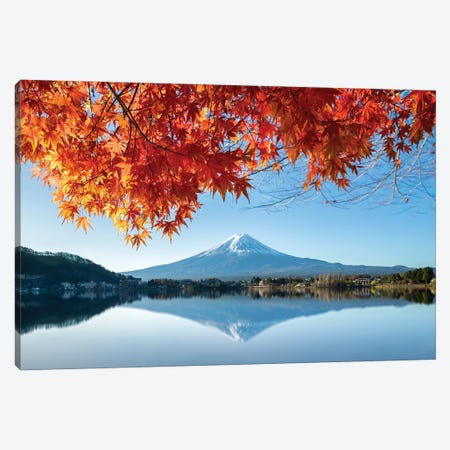 Autumn Foliage With Mount Fuji, Lake Kawaguchiko, Japan Canvas Print #JNB1636} by Jan Becke Canvas Artwork