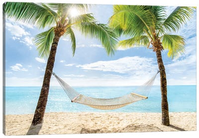Relaxing Summer Vacation In A Hammock Canvas Art Print