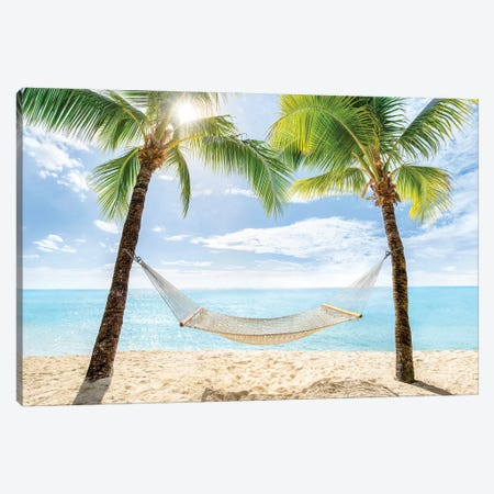 Relaxing Summer Vacation In A Hammock Canvas Print #JNB163} by Jan Becke Canvas Art