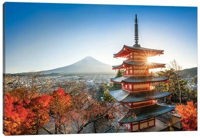 Chureito Pagoda With Mount Fuji In Autumn Season Canvas Art Print