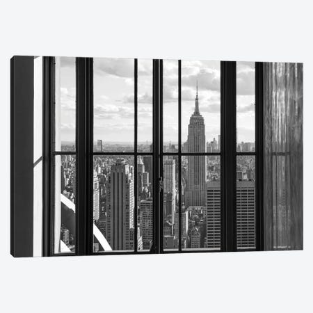 Manhattan Skyline With Empire State Building In Black And White, New York City, Usa Canvas Print #JNB1656} by Jan Becke Canvas Artwork