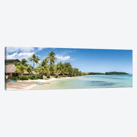 Tropical Beach Panorama On Moorea Island, French Polynesia Canvas Print #JNB1660} by Jan Becke Canvas Artwork