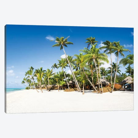 White Sand Beach With Palm Trees Canvas Print #JNB1661} by Jan Becke Canvas Wall Art