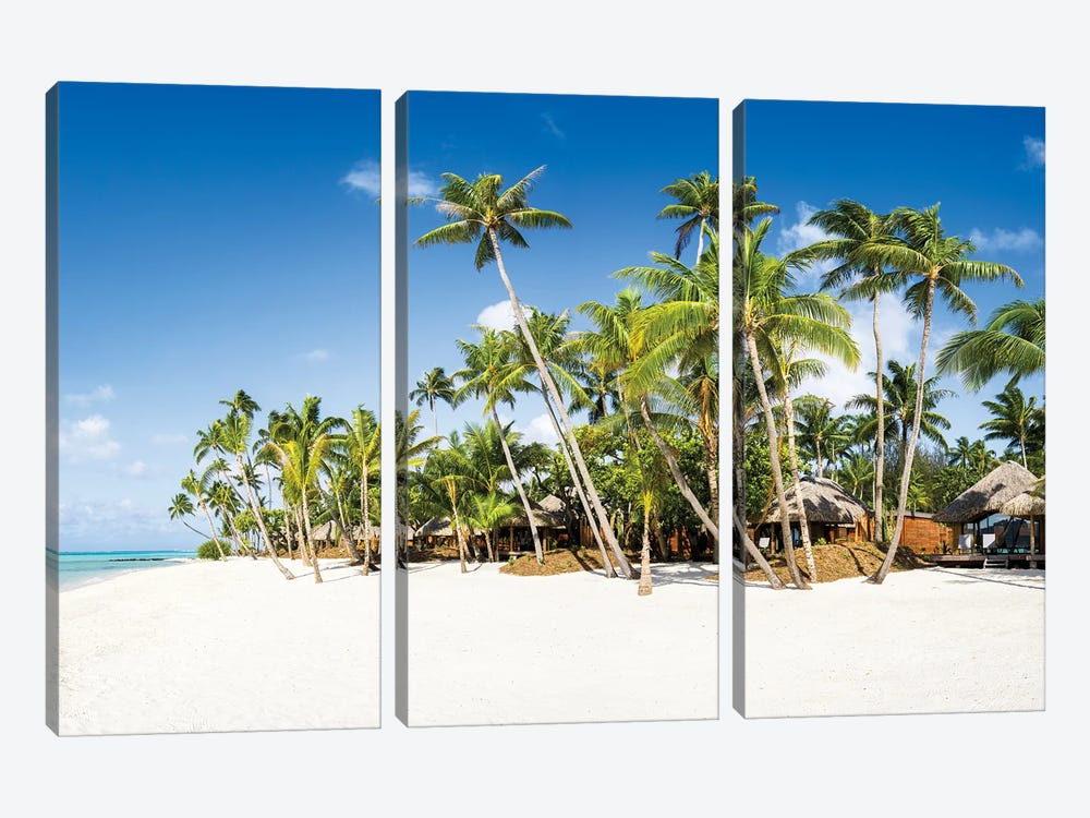White Sand Beach With Palm Trees by Jan Becke 3-piece Canvas Art Print