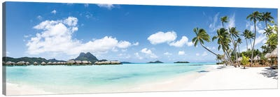 Tropical Beach Panorama On Bora Bora, French Polynesia Canvas Art Print