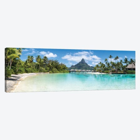 Bora Bora Panorama With View Of Mount Otemanu Canvas Print #JNB1666} by Jan Becke Canvas Print
