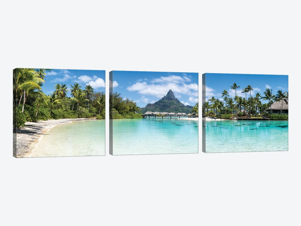 Bora Bora Panorama With View Of Mount Otemanu by Jan Becke 3-piece Canvas Wall Art