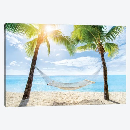 Relaxing In A Hammock At The Beach Canvas Print #JNB166} by Jan Becke Art Print